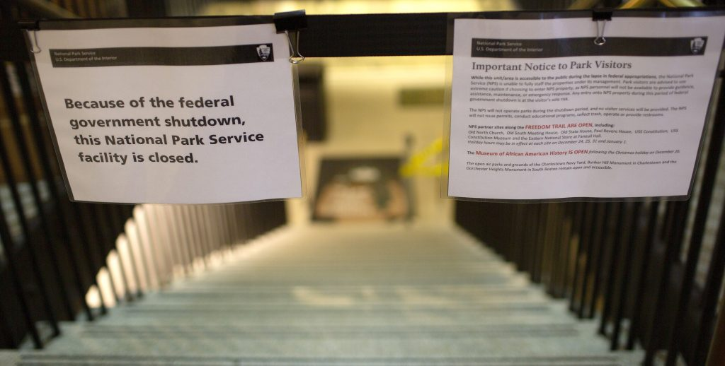 US government in partial shutdown in Boston